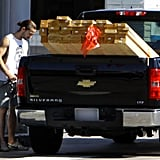 Shia LaBeouf stopped to refuel his truck.