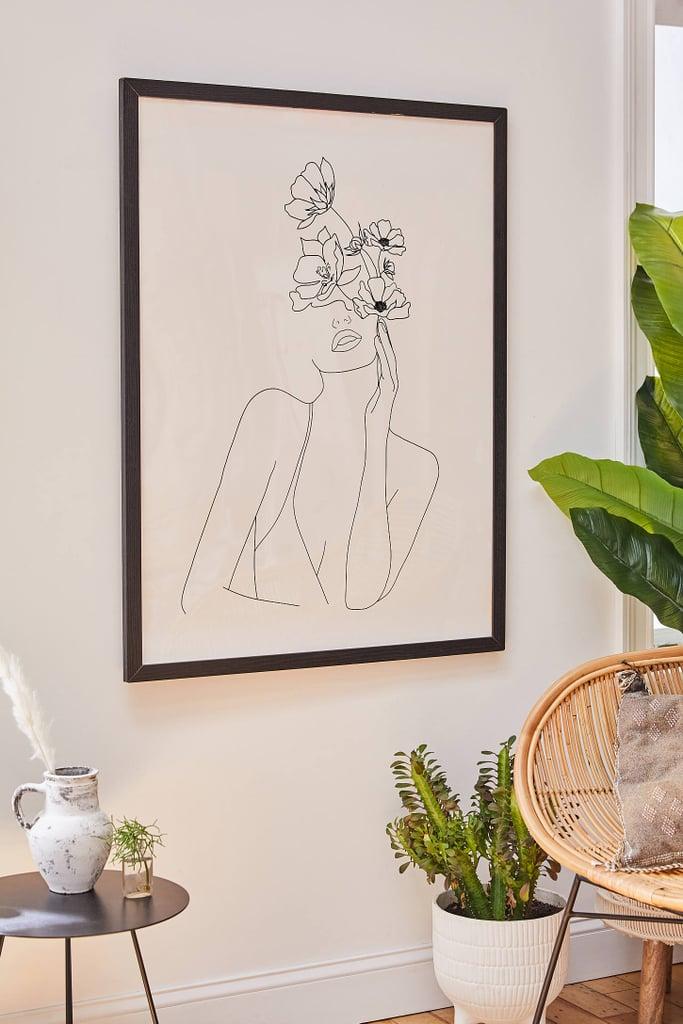 Nadja Line Art Woman With Flowers Art Print