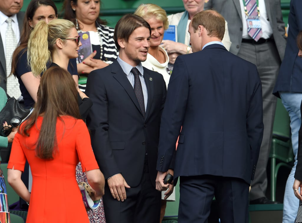 Kate Middleton and Prince William weren't the only cute couple at Wimbledon on Wednesday — Josh Hartnett and his girlfriend, Tamsin Egerton, popped up at the tennis tournament as well! The foursome actually met up in the stands and exchanged greetings after watching Andy Murray take on Vasek Pospisil.  Josh and Tamsin were first spotted out together in Spring 2013, after meeting on the set of Singularity in 2011. The duo mostly stays out of the spotlight, but they did recently confirm that they are expecting their first child together! Though 26-year-old Tamsin's tiny baby bump was hidden under her printed dress during their London day out, Josh couldn't help but crack a smile and wave to fans.