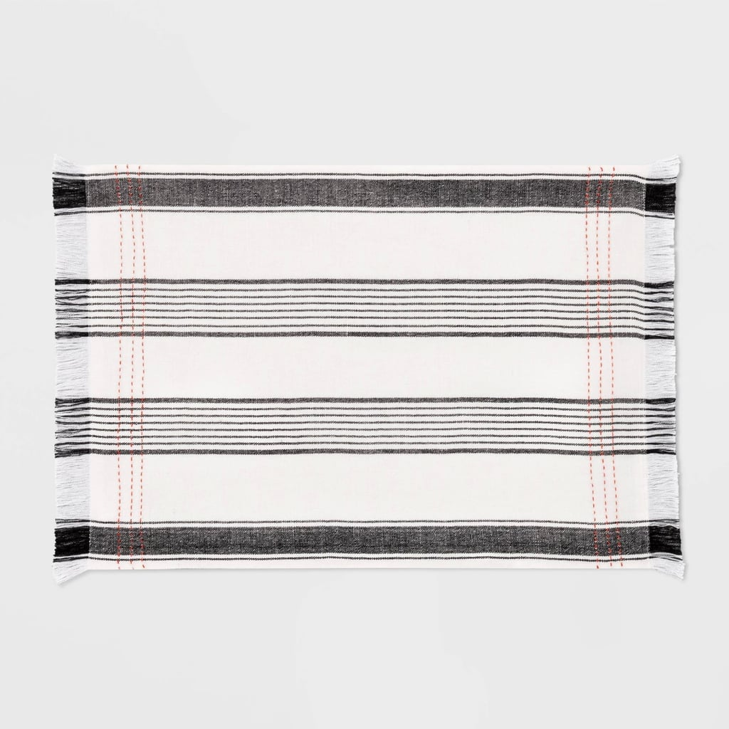Placemat Woven Striped in Black/Orange