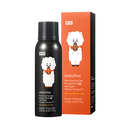 Innisfree BT21 Limited Pore Clearing Clay Mousse Mask 2X With Super Volcanic Clusters in RJ