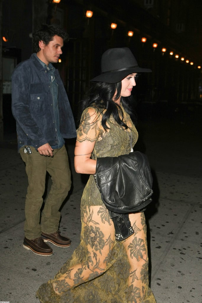 Katy Perry walked out of an NYC restaurant with John Mayer following close behind.