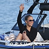 Jennifer Lopez gave a wave.
