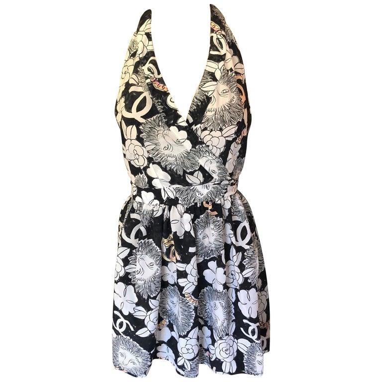 Chanel CC Logo Monogram Silk Halter Open Back Wrap Dress