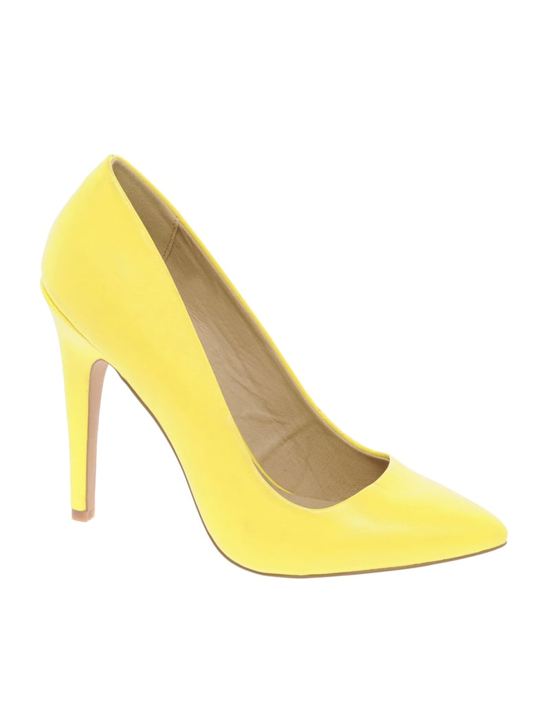 Pep up your look with a pair of on-trend pumps in a flash of citrus.  ASOS Paris Point Court Shoes ($38)