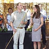William was gifted a spear during the couple's visit to the outback. Source: Instagram user sperrypeoplemag