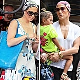 Try out Jennifer Lopez's latest look with a printed head scarf.