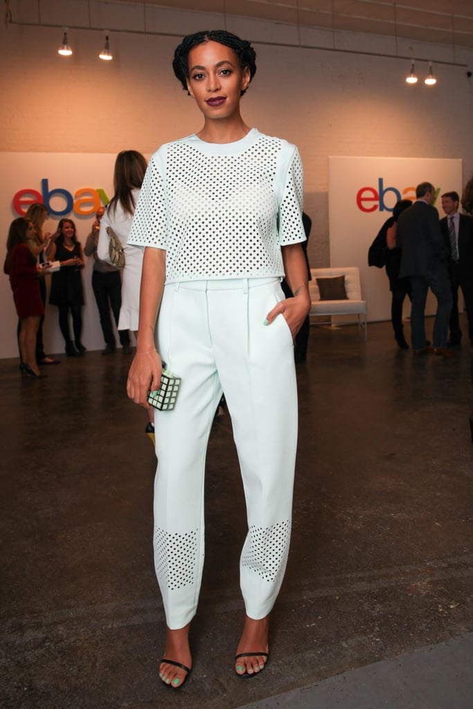 Solange Knowles may have been covered up in a 3.1 Phillip Lim top and trousers at the eBay Future of Shopping event, but square perforations added a subtle something special.