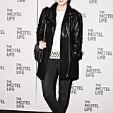 Barbara Palvin rocked leather and denim on the black carpet for The Motel Life.