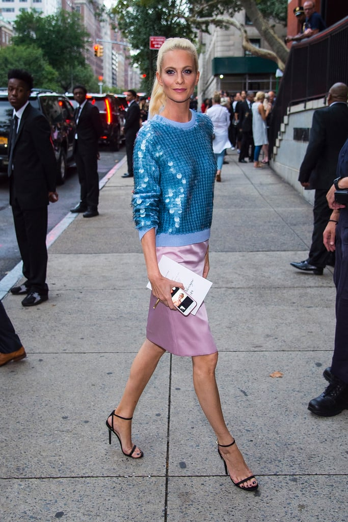 Poppy Delevingne Attending the Marc Jacobs Show in a Blue Sequined Sweater and Silk Skirt