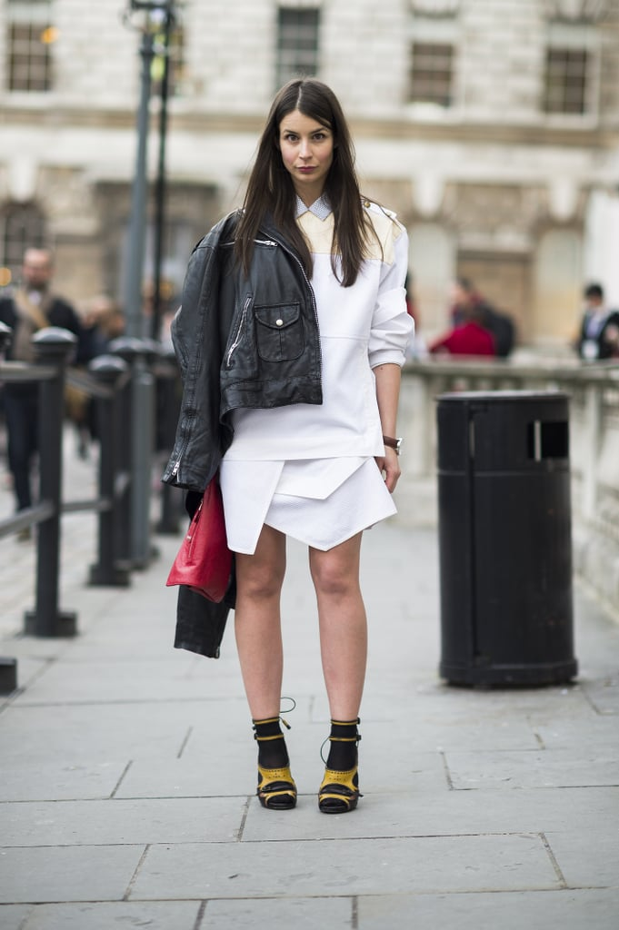 An architectural skirt and statement heels made for a high-impact pairing. Source: Le 21ème | Adam Katz Sinding