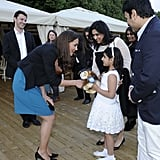 While taking in a June 2012 performance of The Lion, the Witch, and the Wardrobe in London, Kate was presented with a toy lion by a little girl, which she accepted with a smile.