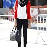 Layering done the ultrachic way with a tweedy jacket and a silky blouse under a chunky seasonal scarf. Source: Greg Kessler