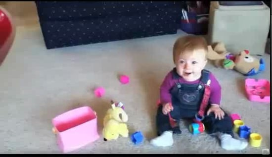 Baby Laughs at Dog Eating Bubbles