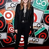 Strappy glitter platform sandals provided much-needed pizazz to Nina's all-black ensemble at Target's Go International party.