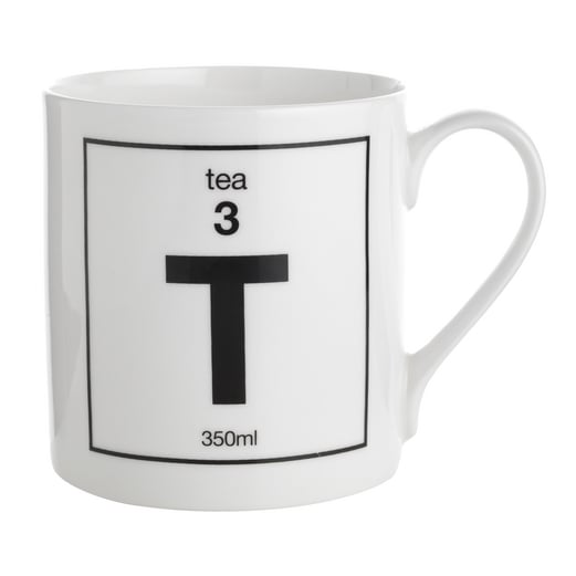 """Pick your caffeinated """"element"""" of choice with the In Your Element Mug ($12). We'll take C is for coffee, but perhaps T is more your cup of . . . tea?"""