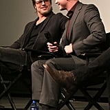 Brad Pitt shared a cute moment with Fury costar Logan Lerman at a screening in LA on Thursday.