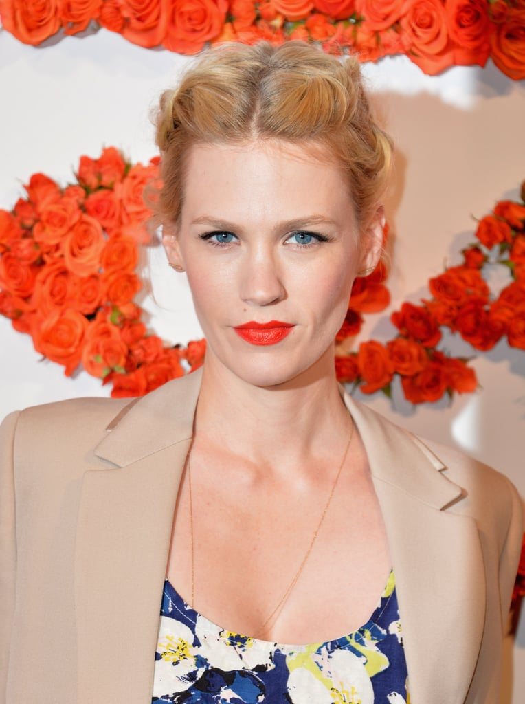 At the annual Coach Evening to Benefit Children's Defense Fund, January Jones showed off her blond mane, which was styled in various braids. She paired her Spring look with a pop of bright coral lipstick, which made her blue eyes sparkle.