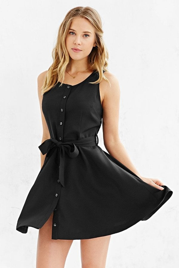 Cooperative Button-Front Tied Waist Dress
