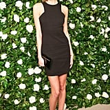 Karlie Kloss looked flawless in an LBD and printed heels at MoMA.