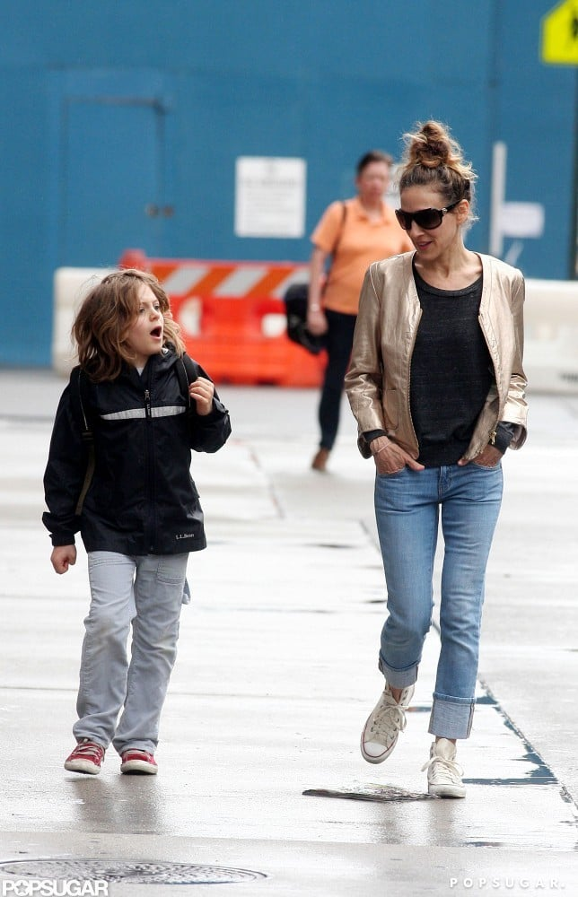 Sarah Jessica Parker walked James Wilkie Broderick to school wearing a gold jacket.