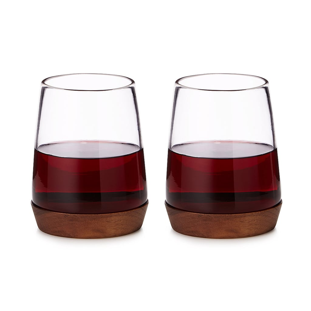 Wooden Base Wine Glasses ($59 for set of two)