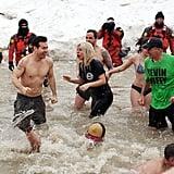 Shirtless Taylor Kinney and Lady Gaga at Polar Plunge 2015
