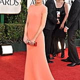 On the Golden Globes red carpet in 2011 in a minimalist Calvin Klein, Emma proves that less is more with a lean silhouette and a gorgeous palette.