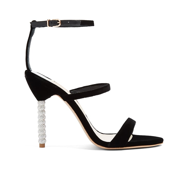 Sophia Webster Rosalind Crystal Embellished-Heel Velvet Sandals ($535)