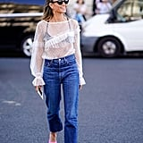 Style Your Slinky, Sheer Top With Mom Jeans and Business-Ready Flats