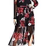City Chic Rose Print Maxi Dress