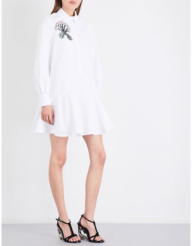 Alexander McQueen Floral-Embroidered Loose-Fit Cotton-Piqué Shirt Dress