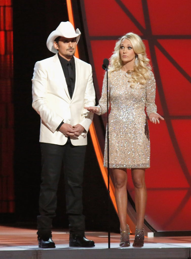 Carrie Underwood wore a sparkly shift dress at the Country Music Association Awards in Nashville.