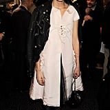 Alexa Chung followed in the footsteps of Kate Moss as she won the Style Icon award. She covered up in a biker jacket.