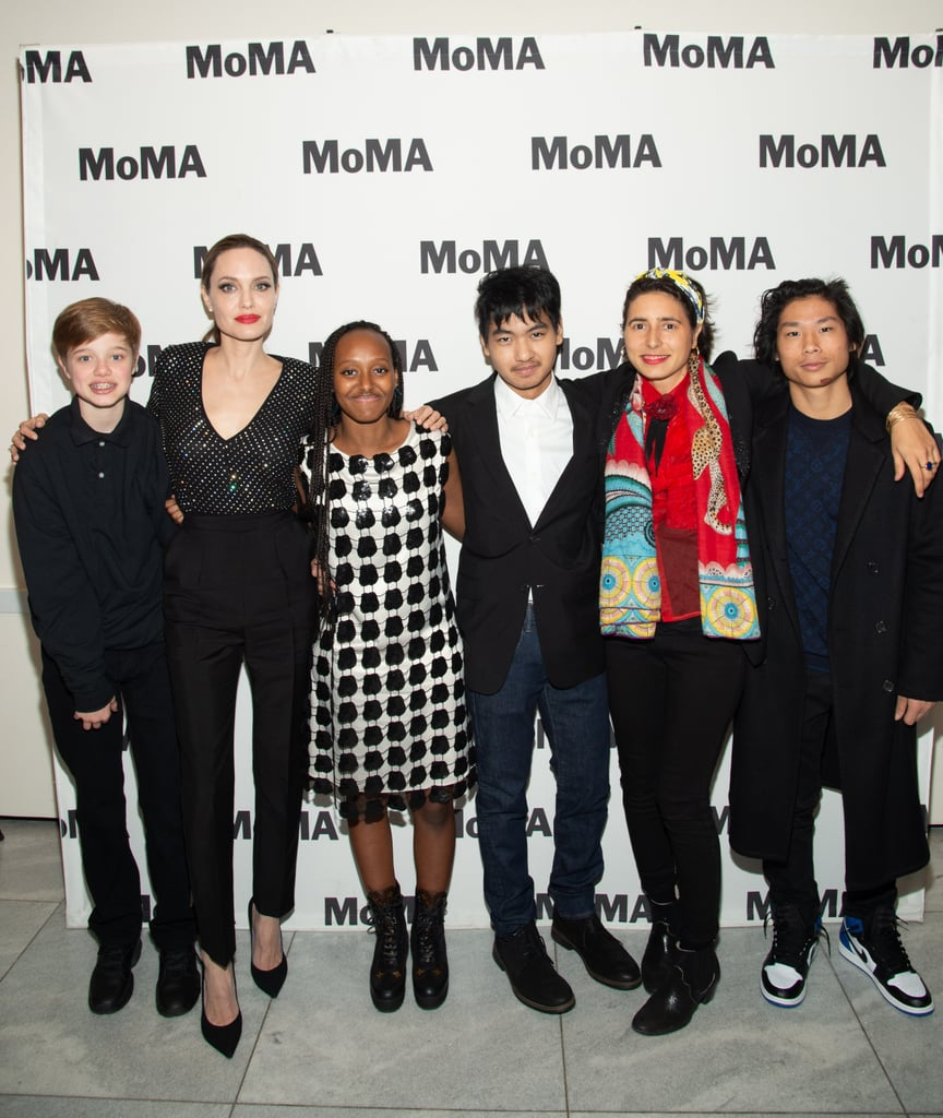 Angelina, Shiloh, Zahara, Pax, and Maddox all enjoyed a night out at the museum during the opening of the Museum of Modern Art's Doc Fortnight in February 2019.