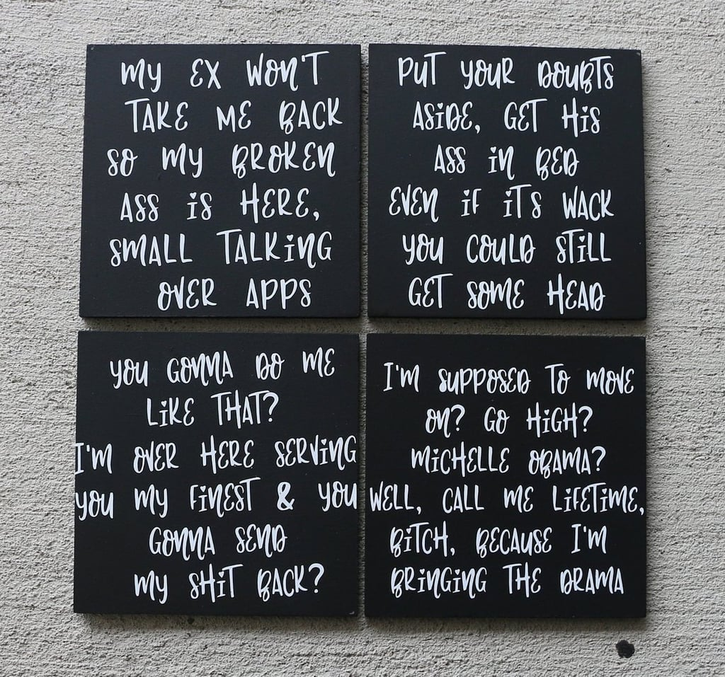 Mirror Rap Lyrics Coaster Set Of 4 Gifts For Insecure Hbo Fans