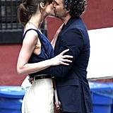 Keira Knightley and Mark Ruffalo kissed on the set of their film.
