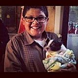 Rico Rodriguez bonded with little bitty pig on the set of Modern Family. Source: Instagram user starringrico