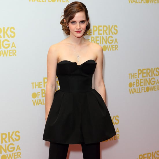 Emma Watson Wearing a Black Dress Over Pants