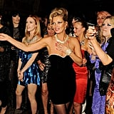 Stella McCartney, Rosemary Ferguson, Nikki Hunter, Mary Charteris, Kate Moss, Fiona Young, Liliana Bird, Jess Hallett, and Jess Morris participated in the surprise for Fran Cutler's birthday party.