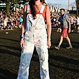 White overalls got a paint-splattered boost for a look that was one of a kind.