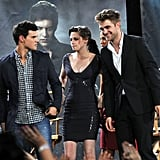 The entire cast looked good on Jimmy Kimmel, but Kristen stood out in her body-con Herve Leger by Max Azria.