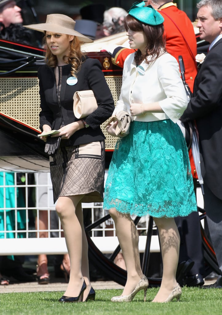 Princesses Beatrice and Eugenie were among the royals present for opening day at the Ascot Racecourse in the UK today. Queen Elizabeth and Camilla Parker Bowles were also on hand for the fun in their fancy hats. Sisters Beatrice and Eugenie made a splash at the marriage of Prince William and Kate Middleton in April, and have been in the spotlight since. The girls joined the newlyweds again earlier this month at the Epsom Derby, and Beatrice was alongside Kate for a friend's nuptials over the weekend. It's been a busy few weeks for the family since they just celebrated the Queen's birthday and Prince Philip's 90th with dinner on Sunday night. Kate dressed for the meal in a bright pink Stella McCartney dress, which was actually also worn by Madonna in 2008!