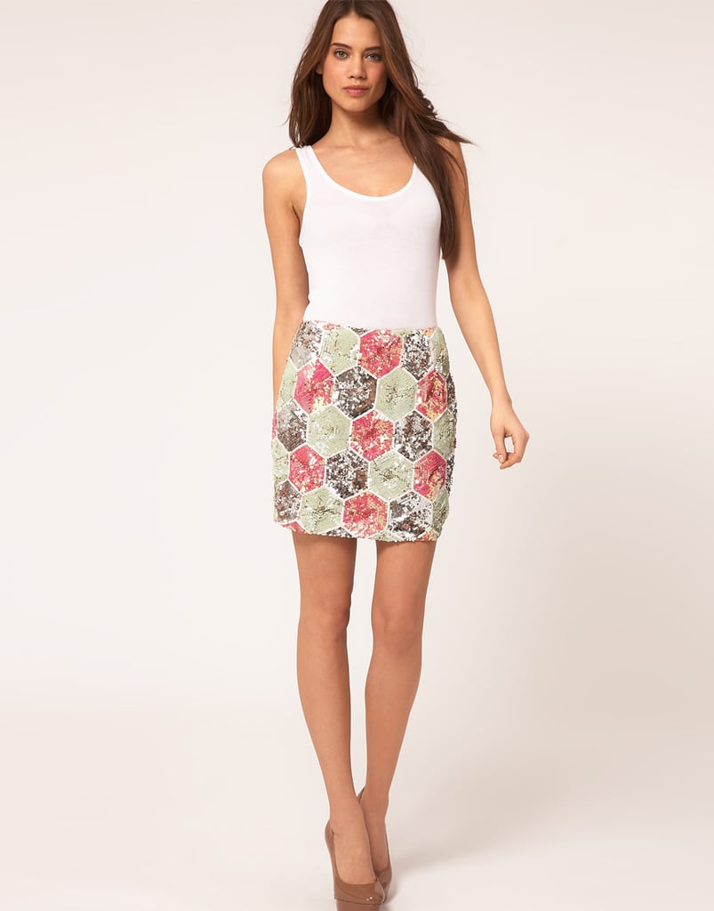 This hexagon-print would pretty much go with everything.  ASOS Mini Skirt In Hexagon Sequin ($134)