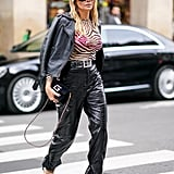 Leather Pants Outfit Idea: Leather Jacket + Animal-Print Top