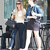 Lauren Conrad and a friend sat a table outside at Starbucks in LA.