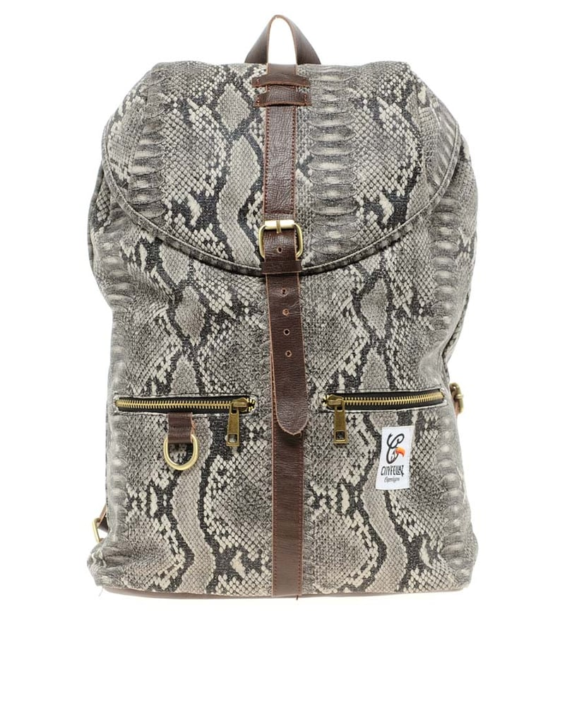 This python-print City Fellaz backpack ($98) is technically a guy's backpack, but we think it would look great on ladies and gents alike.