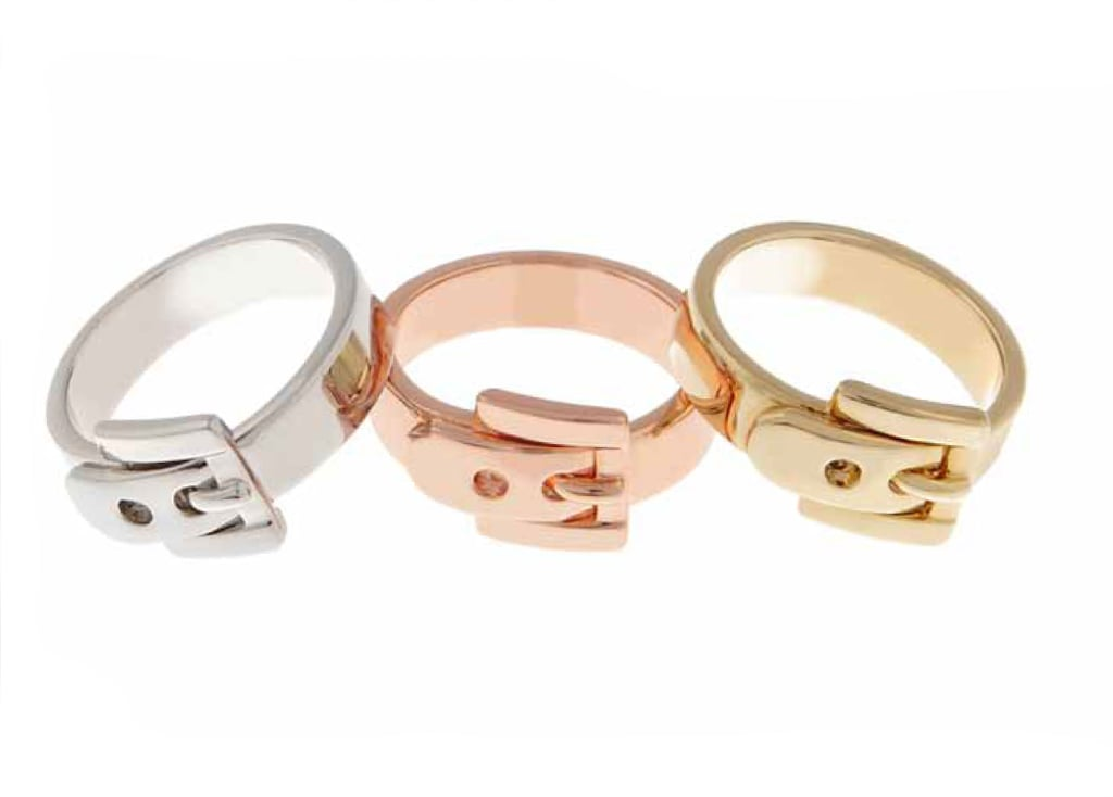Silvertone, Rose Gold Tone, or Goldtone Buckle Ring: $45 each