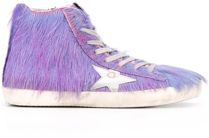 "The Golden Goose Deluxe Brand ""Francy"" Hi-Top Sneakers ($595) are straight out of Monsters Inc.."