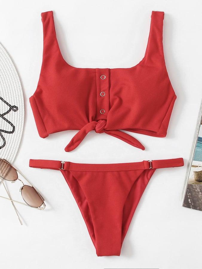 e097331ea8 Shein Knot Front Low Back Bikini Set   Alessandra Ambrosio Wearing ...